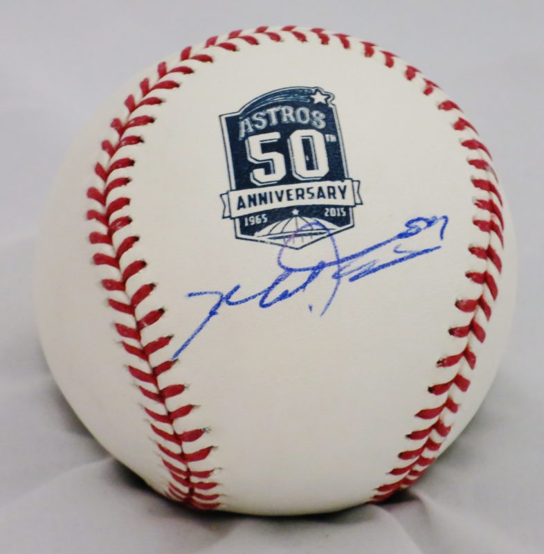 Mike Fiers Astros Trade: Mike Fiers Autographed Official MLB Astros 50th Aniversary